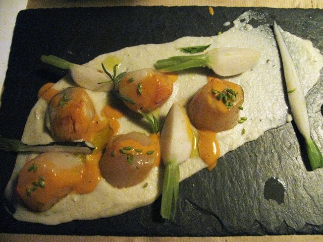 Smoked noix de Saint-Jacques (scallops) on a Jerusalem artichoke puree at La Famille