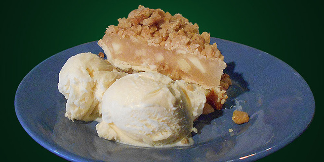Apple and Salted Caramel pie with Ice Cream at Mean Woman Grill