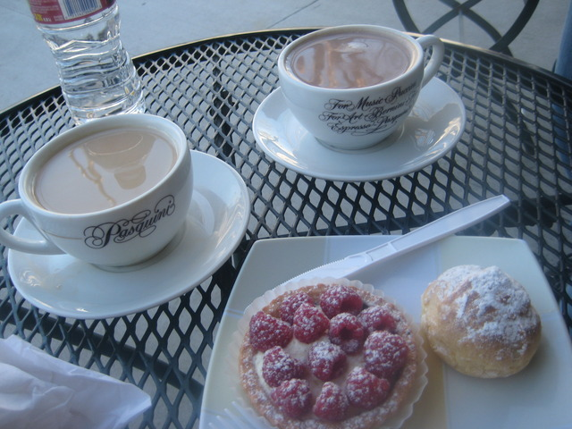 We could not believe this came to under $7.00.  Fruit tart was $2.00 and the creme puff was .50 - cafe ole & pastries at Village French Bakery