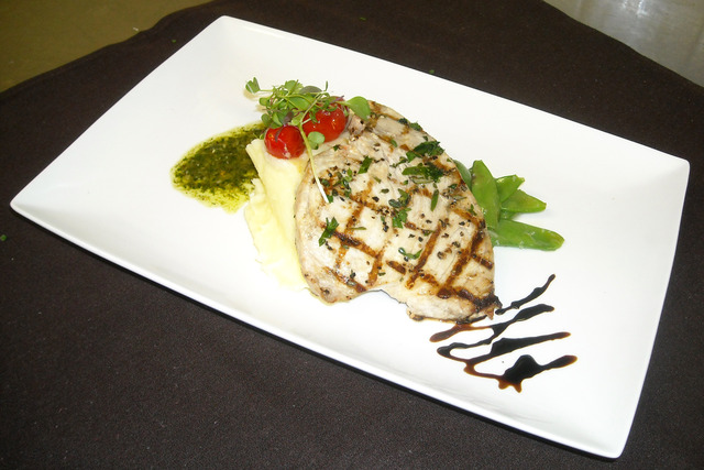 Grilled Swordfish, Truffle Yukon Mash, Brussels Sprouts, Basil Pesto, Aged Balsamic Reduction at Thyme Restaurant & Cafe Bar
