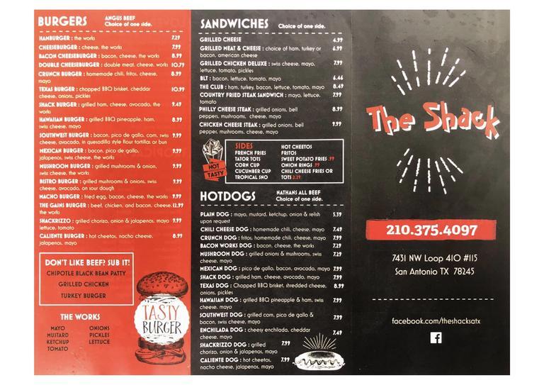 Restaurant Menu at The Shack