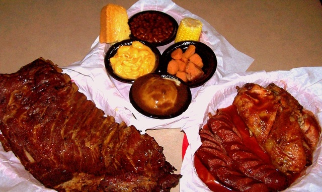 meats and side dishes at House of Chicken & Ribs