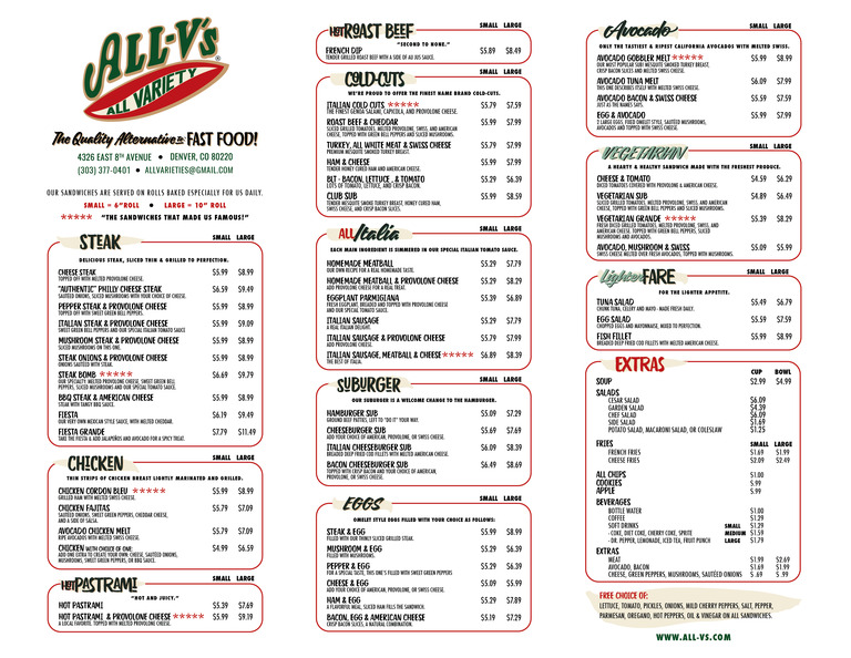 Restaurant Menu at All-V's Sandwiches