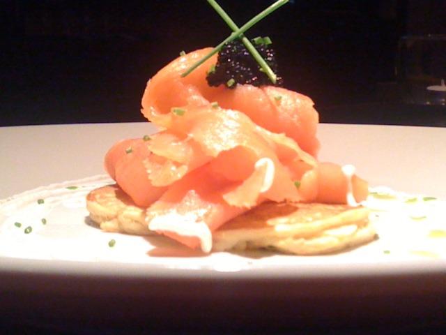 Nova Scotia Salmon, Chive Blini, Horseradish Creme Fraiche, Black Caviar at Thyme Restaurant & Cafe Bar