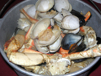 Photo of Family Bucket of Steamed Clams, Crab and Mussels
