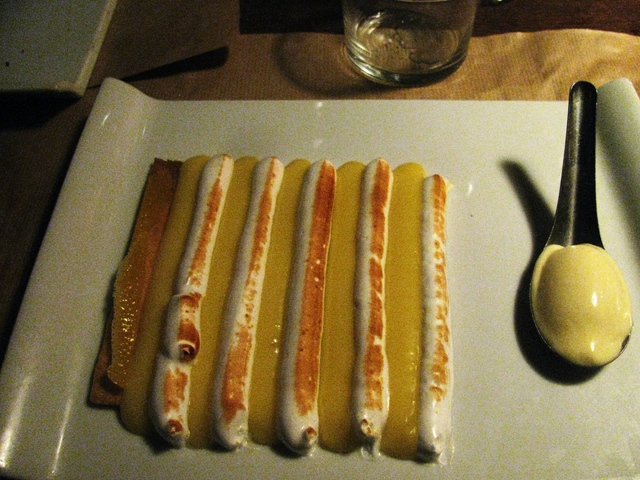 Deconstructed lemon tart at La Famille