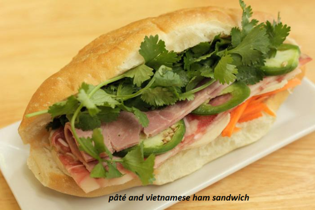 pâté and vietnamese ham sandwich at French Baguette