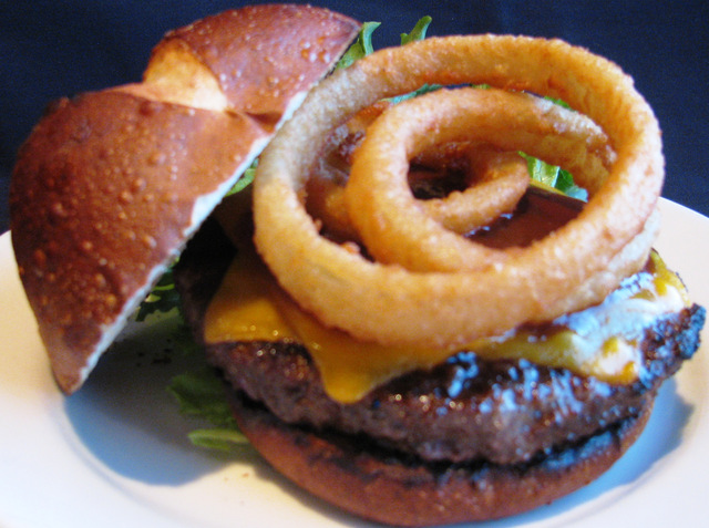 STeakhouse Cheddar Burger at Chicago Blu Grill and Bar