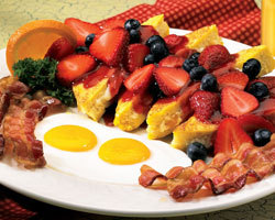 Three Berry Stuffed French Toast Breakfast at Mimi's Cafe