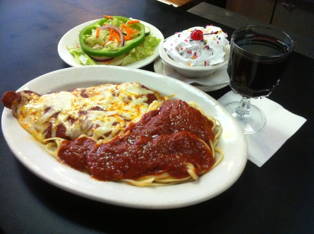 Chicken Parmigiana at The Old Time Vincent's Seafood & Italian Restaurant