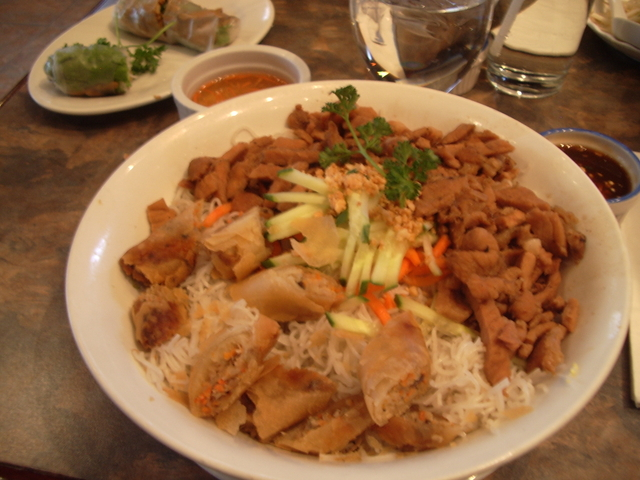 My favorite! Sorry it's a little fuzzy. - Char-broiled Pork with Vermicelli at Quynh Vietnamese Cuisine