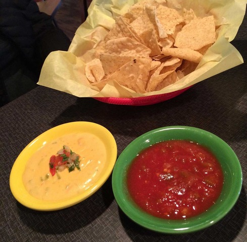 Chips, salsa and Queso at Mean Woman Grill