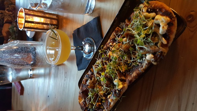 duck confit flatbread at Kindred Restaurant