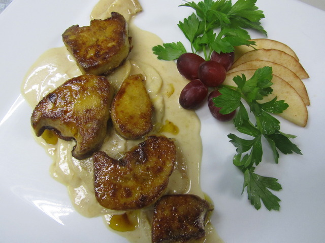Pan Seared Foie Gras in Apple Cognac Sauce at Cote Gourmet