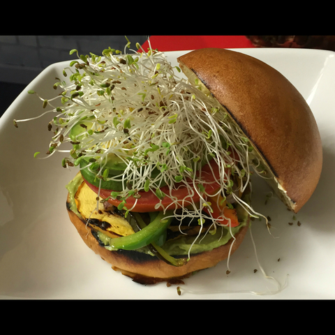 """Jaime's Soul Surfer"" Fat #Burger at Fat Fish #OC is loaded w/#avocado, #sprouts, almond butter & #t - ""Jaime's Soul Surfer"" Fat #Burger at Fat Fish OC"