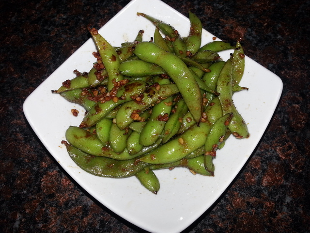 Garlic Edamame at Sushi Kawa Sports Bar and Grill