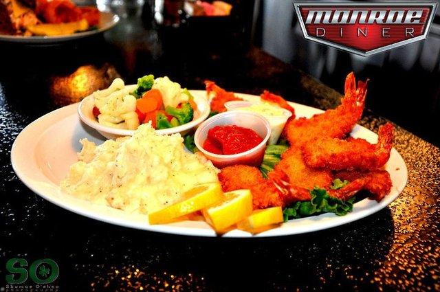 shrimp dinner at Monroe Diner Inc