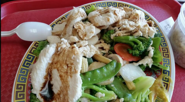 502. Steamed Vegetables with Chicken at China Cafe