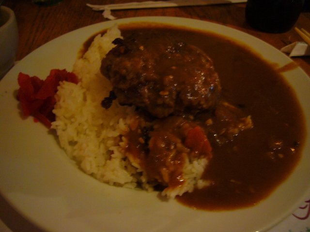Photo of Beef Curry with Rice and Hamburger Steak
