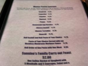 Restaurant Menu at Mama Sannino's