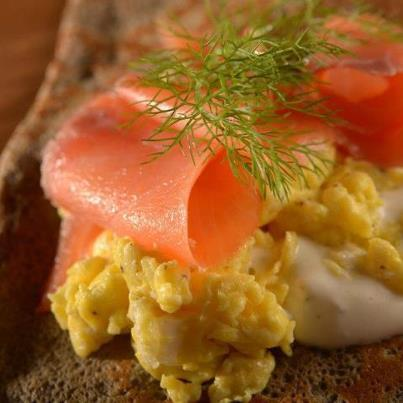 Farm eggs, smoked salmon, dill creme fraiche! - Crepes du Nord ((salmon) at Crepes du Nord BridgeWater Commons