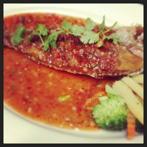 Red snapper with sweet chili sauce at Five Star Thai Cuisine