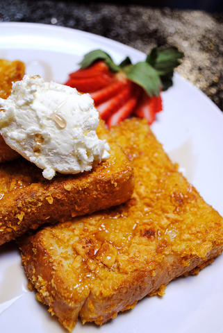 Capt. Crunch french toast at Monroe Diner Inc