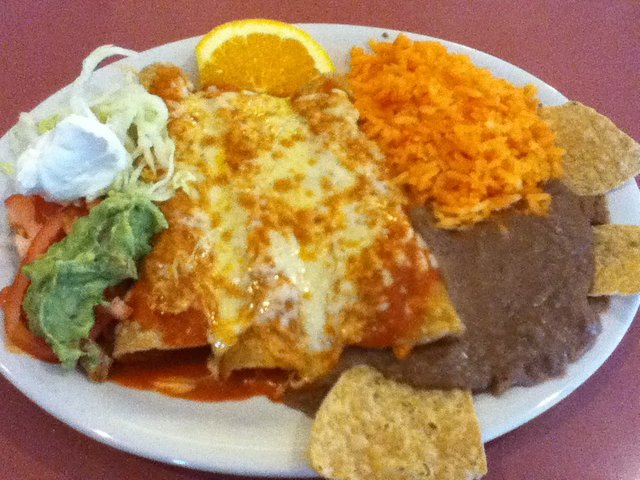 Enchiladas at Crystal Fountain Cafe
