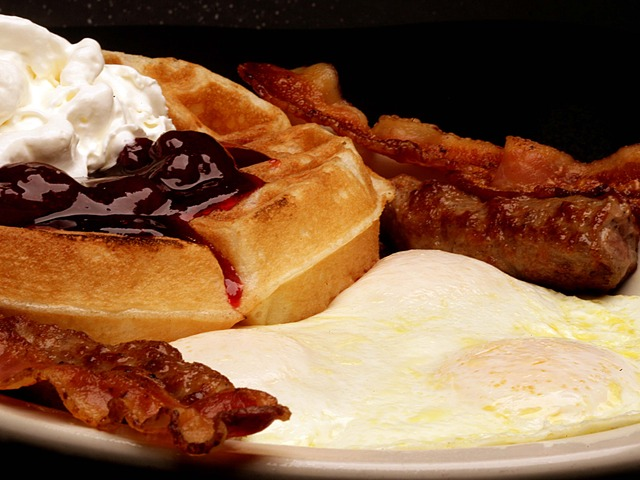 Waffle & Eggs at Burger Basket
