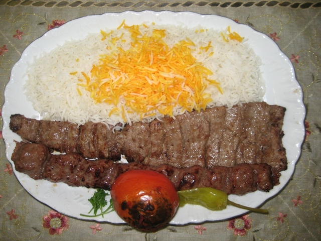 Beef Soltani Dinner (Thinly sliced filet mignon and ground beef skewer) at Saghi Restaurant Cabaret