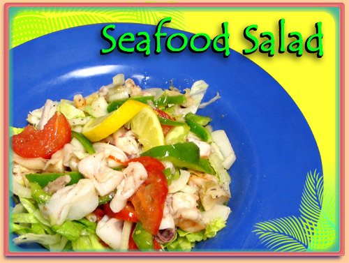 Only the Freshes Ingredients in this tasty salad! - SEAFOOD SALAD at Ramirez Restaurant