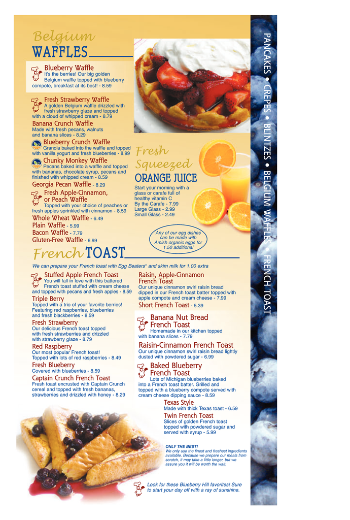 Restaurant Menu at Blueberry Hill