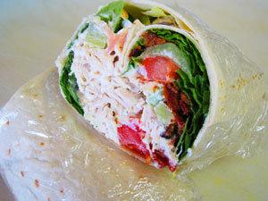 chicken salad wrap at Wrap Shak