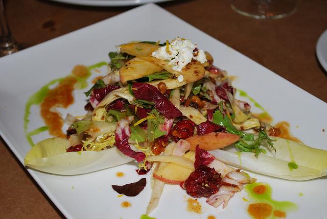 Fuji Apple & Endive Salad with Stilton, Cranberries, Toasted Walnuts & Cider Vinaigrette at Thyme Restaurant & Cafe Bar