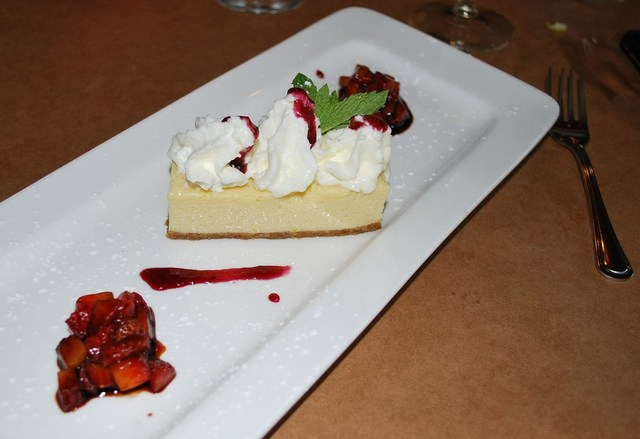 Bittersweet key Lime Torte with Berry Coulis at Thyme Restaurant & Cafe Bar