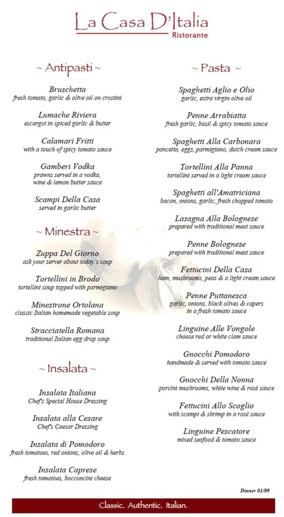 Restaurant Menu at La Casa D'Italia
