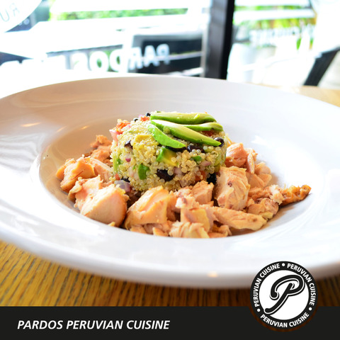 Delicious mix of quinoa, tomatoes, onions, black beans and avocado with Peruvian style rotisserie ch - Chicken Quinoa Protein Salad at Pardos Peruvian Cuisine