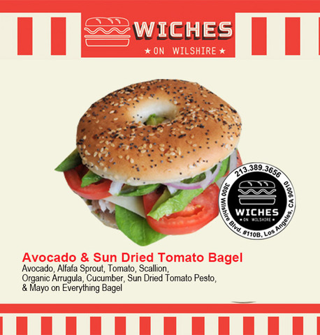 Avo & Sundried Tomato Bagel at Wiches on Wilshire