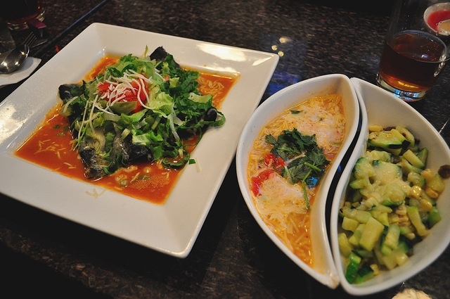 These are the Enchiladas as I was served them with the two sides. - Blue Corn Enchilada at BOA