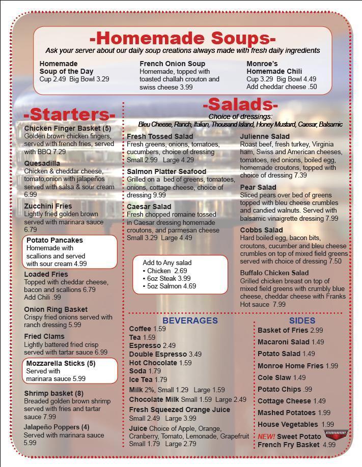 Restaurant Menu at Monroe Diner Inc