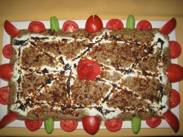 Khaske Bademjan Platter (Sauteed Eggplant dip) at Saghi Restaurant Cabaret