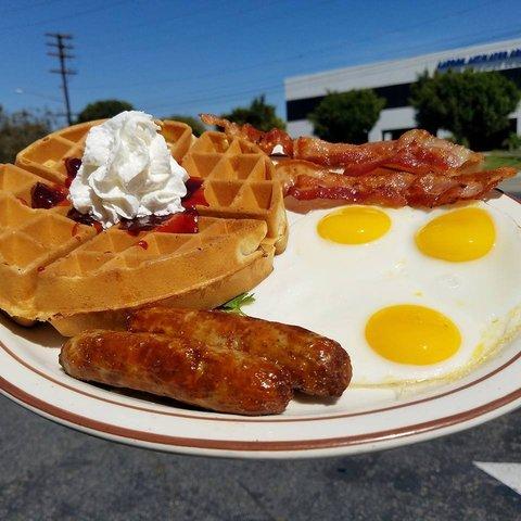 Waffle & Eggs Breakfast at columbia restaurant