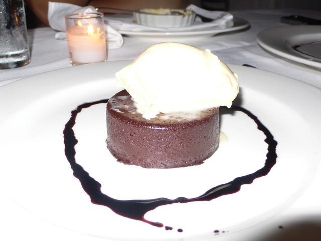 Pralus Chocolate Truffle Cake with Ninety Farms Stracchiatelle Gelato and Cherry Vinegar Reduction at Cafe Juanita
