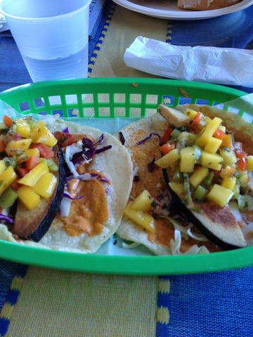 Vegan Tuna Fish topped with cabbage. With a choice of seasonal homemade mango salsa or pineapple sal - Fish Baja Style Taco at El Cantaro Vegan Mexican Restaurant