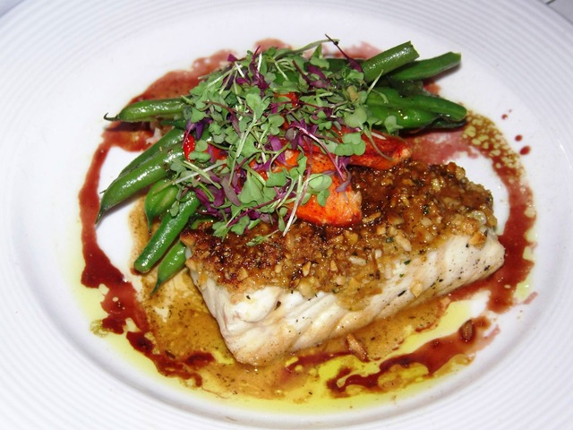 Photo of Walnut Encrusted Halibut with Lobster Mashed Potatoes & Haricot Vert