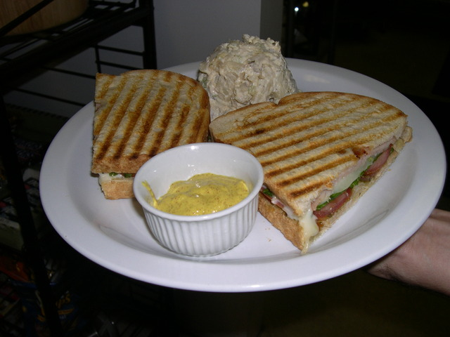 The Salyut panini: turkey, pesto,spinach, mozzarella and fresh tomato - Salyut Panini at Atomic Cafe