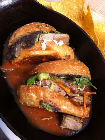 Best Sandwich Ever... Traditional drowned Carnitas torta - Ahogada Torta at Poquitos
