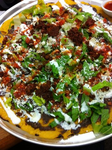 "16"" Oaxacan Tostada with house made chorizo - Clayuda at Poquitos"