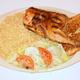 Rice Pilaf, Salad with Greek Dressing, and Garlic Bread - Greek Chicken at Squabs Gyros