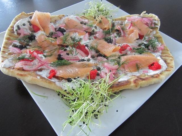 Smoked Salmon on flat bread at Bistro Stasha